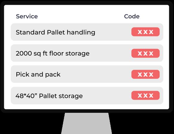 Defined warehousing service code: DWS Code - Digital Warehousing - Stockarea